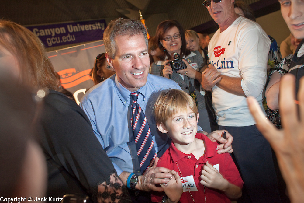 05 MARCH 2010 -- PHOENIX, AZ: US Senator Scott Brown (CQ) works the crowd at Grand Canyon University in Phoenix Friday. McCain is facing a tough primary battle from former Republican Congressman JD Hayworth. McCain has Scott Brown (R-MA) and Sarah Palin campaigning for him. Both men are courting the Tea Party activists but so far the Tea Party has refused to endorse either candidate.    PHOTO BY JACK KURTZ