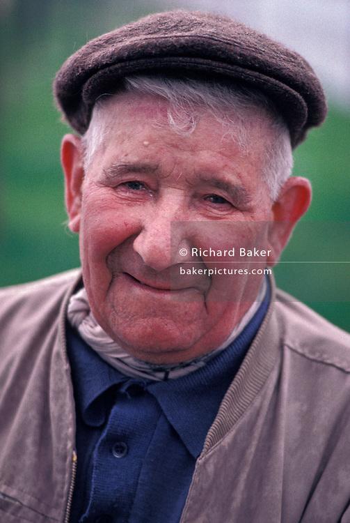 Portrait of an elderly man living in rural France, on 11th November 1990, in Etaples, France.