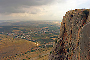 Israel, Galilee, view from the Arbel mountain