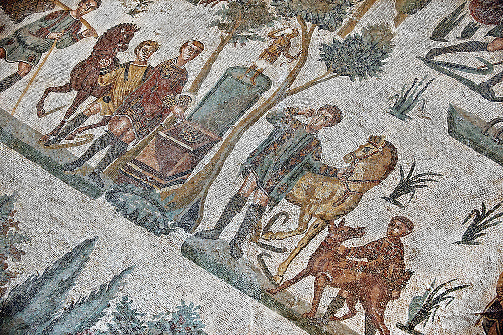 Hunters making an offering at an altar. Roman mosaic floor of the Room of The Small Hunt, no 25 - Roman mosaics at the Villa Romana del Casale ,  circa the first quarter of the 4th century AD. Sicily, Italy. A UNESCO World Heritage Site. .<br /> <br /> If you prefer to buy from our ALAMY PHOTO LIBRARY  Collection visit : https://www.alamy.com/portfolio/paul-williams-funkystock/villaromanadelcasale.html<br /> Visit our ROMAN MOSAICS  PHOTO COLLECTIONS for more photos to buy as buy as wall art prints https://funkystock.photoshelter.com/gallery/Roman-Mosaics-Roman-Mosaic-Pictures-Photos-and-Images-Fotos/G00008dLtP71H_yc/C0000q_tZnliJD08