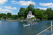"""Henley on Thames, United Kingdom, 22nd June 2018, Friday,   """"Henley Women's Regatta"""",  General view,   Women's Quadruple Sculls"""", passing the Folly on Temple Island, Competitors, Rowing-Sculling, Training, Henley Reach, Thames Valley,  River Thames, England, © Peter SPURRIER"""