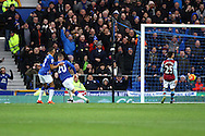 Ross Barkley of Everton reels away to celebrate scoring his teams 1st goal. Barclays Premier League match, Everton v Aston Villa at Goodison Park in Liverpool on Saturday 21st November 2015.<br /> pic by Chris Stading, Andrew Orchard sports photography.