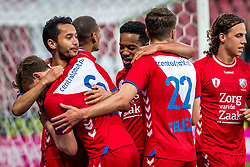 12-05-2018 NED: FC Utrecht - Heerenveen, Utrecht<br /> FC Utrecht win second match play off with 2-1 against Heerenveen and goes to the final play off / (L-R) Rico Strieder #6 of FC Utrecht score the 1-0, , Mark van der Maarel #2 of FC Utrecht, Urby Emanuelson #18 of FC Utrecht, Sander van der Streek #22 of FC Utrecht, Giovanni Troupee #20 of FC Utrecht