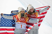 Chloe Kim, USA, GOLD with Arielle Gold, USA BRONZE following the womens halfpipe final at the Pyeongchang Winter Olympics on 13th February 2018 at Phoenix Snow Park in South Korea