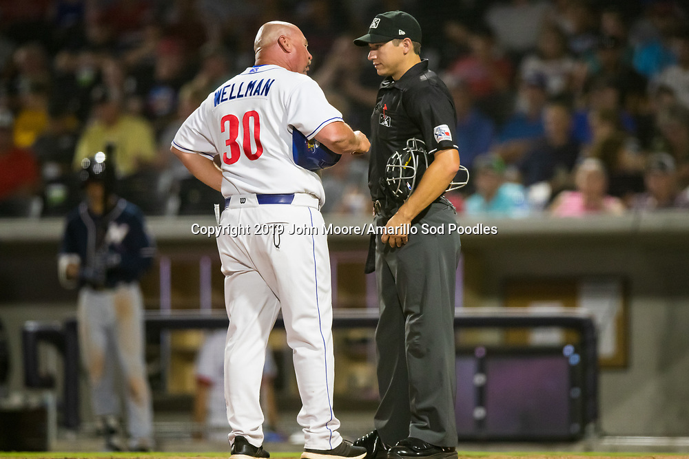 Amarillo Sod Poodles Manager Phillip Wellman argues with an umpire against the Northwest Arkansas Travelers on Saturday, July 20, 2019, at HODGETOWN in Amarillo, Texas. [Photo by John Moore/Amarillo Sod Poodles]