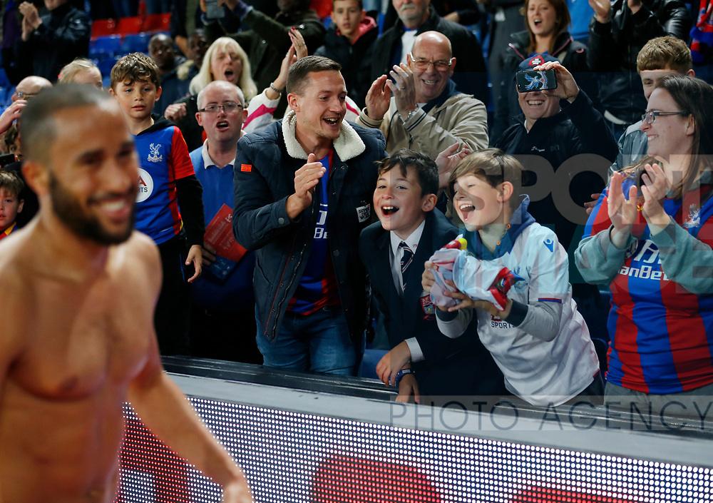 Crystal Palace's Andros Townsend gives his shirt to a couple of kids during the Carabao cup match at Selhurst Park Stadium, London. Picture date 19th September 2017. Picture credit should read: David Klein/Sportimage