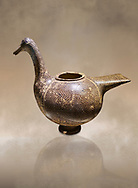Phrygian pottery vessel in the shape of a goose decorated with geometric deigns from Gordion. Phrygian Collection, 8th century BC - Museum of Anatolian Civilisations Ankara. Turkey. Against an art background .<br /> <br /> If you prefer you can also buy from our ALAMY PHOTO LIBRARY  Collection visit : https://www.alamy.com/portfolio/paul-williams-funkystock/phrygian-antiquities.html  - Type into the LOWER SEARCH WITHIN GALLERY box to refine search by adding background colour, place, museum etc<br /> <br /> Visit our CLASSICAL WORLD PHOTO COLLECTIONS for more photos to download or buy as wall art prints https://funkystock.photoshelter.com/gallery-collection/Classical-Era-Historic-Sites-Archaeological-Sites-Pictures-Images/C0000g4bSGiDL9rw