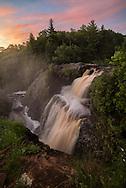 A colorful sky over Gabbro Falls in<br /> Michigan's Upper Peninsula