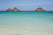 The Mokulua Islands off Lanikai Beach on Oahu.