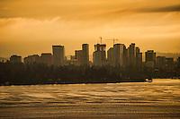 Bellevue Skyline on Lake Washington, Cloudy Sunrise