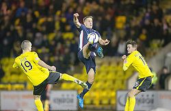 Livingston Gary Glen, Falkirk's Will Vaulks and  Livingston Jack Beaumont.<br /> Livingston 0 v 1 Falkirk, Scottish Championship played13/12/2014 at The Energy Assets Arena.