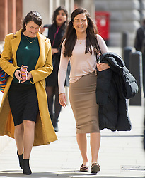 © Licensed to London News Pictures. 11/05/2021. London, UK. Labour Party staff member Laura Murray (right) arrives at The Royal Courts of Justice in London where she is currently being sued by Television presenter RACHEL RILEY for libel over a social media post. Photo credit: Ben Cawthra/LNP