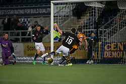 Alloa Athletic's Graeme Holmes saves Falkirk's Bob McHugh's shot. <br /> Falkirk 5 v 0 Alloa Athletic, Scottish Championship game played at The Falkirk Stadium.
