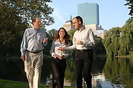 Portraits of bankers walking  in Boston Public Garden for an annual report