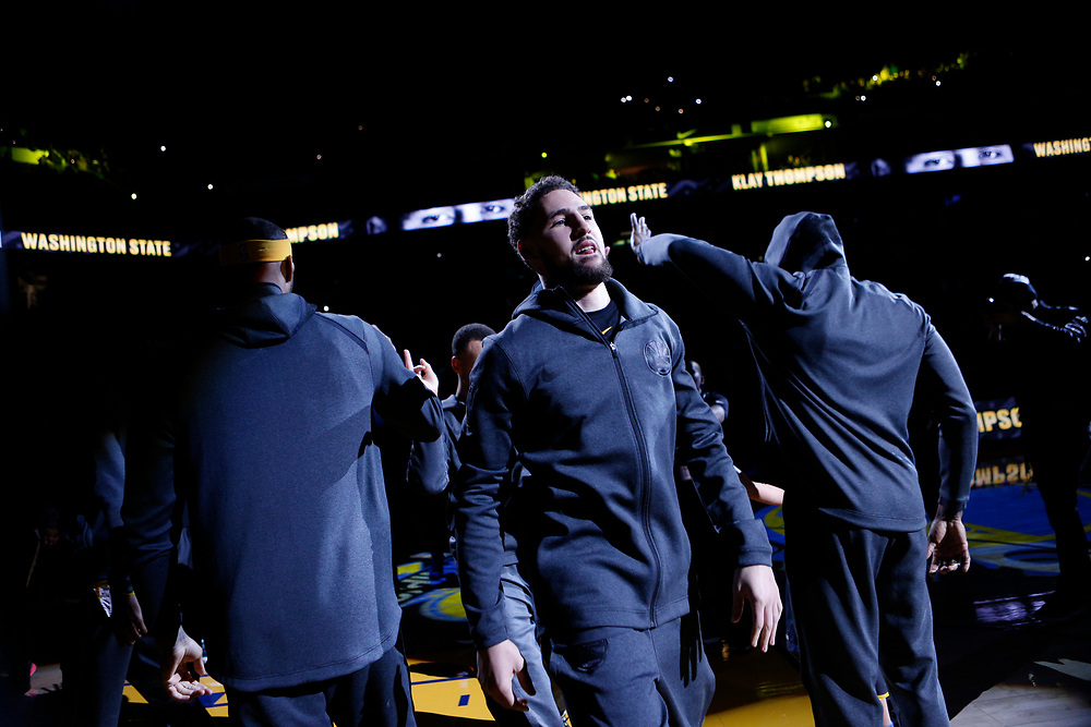 Golden State Warriors guard Klay Thompson (11) is introduced before an NBA game against the Los Angeles Lakers at Oracle Arena on Saturday, Feb. 2, 2019, in Oakland, Calif. The Warriors won 115-101.
