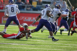 27 October 2007: Brandon Wilson grabs at the ankle of Herb Donaldson. The Western Illinois Leathernecks beat up on the Illinois State Redbirds  27-14 at Hancock Stadium on the campus of Illinois State University in Normal Illinois.