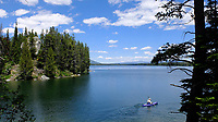"""A paddler embarks on a cruise on Leigh Lake in Grand Teton National Park on Saturday afternoon. The glacially-formed lake was named after Richard """"Beaver Dick"""" Leigh, a hunter and guide in the Teton and Yellowstone country in the 1800s."""