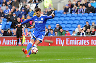 Cardiff City's Anthony Pilkington scores his teams 1st goal from this free kick. The Emirates FA Cup, 3rd round match, Cardiff city v Fulham at the Cardiff city stadium in Cardiff, South Wales on Sunday 8th January 2017.<br /> pic by Carl Robertson, Andrew Orchard sports photography.