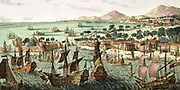 4th Anglo-Dutch War: Attack on Saint Eustatius by the British fleet , 3 February 1781.  Dutch Commander de Graaff  surrendered to Admiral Rodney. West Indies Antilles Leeward Islands Naval Battle Warship Sail  Britain Netherlands