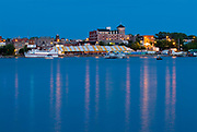 Townsite of Kenora on Lake of the Woods at dusk <br />