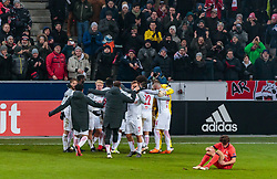 22.02.2018, Red Bull Arena, Salzburg, AUT, UEFA EL, FC Salzburg vs Real Sociedad, Sechzehntelfinale, Rueckspiel, im Bild Jubel Salzburg nach dem Schlusspfiff // during the UEFA Europa League Round of 32, 2nd Leg Match between FC Salzburg and Real Sociedad at the Red Bull Arena in Salzburg, Austria on 2018/02/22. EXPA Pictures © 2018, PhotoCredit: EXPA/ JFK