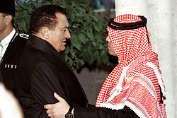 King Abdullah bin Al Hussein (right) receives condolences from Egyptian president Hosni Mubarak during funeral in Amman, Jordan on February 8, 1999. Twenty years ago, end of January and early February 1999, the Kingdom of Jordan witnessed a change of power as the late King Hussein came back from the United States of America to change his Crown Prince, only two weeks before he passed away. Photo by Balkis Press/ABACAPRESS.COM