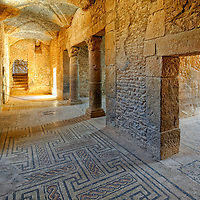 Bulla Regia. Tunisia. View of the basement columned hallway at the Roman villa known as the House of Amphitrite.  The highlight of the Roman city, the underground basement residence is intact with columns separating rooms adorned with magnificent exquisite mosaics throughout especially the one depicting Venus.