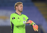 Football - 2020 / 2021 Europa League - Round of 32 - Second Leg - Leicester City vs Slavia Prague - King Power Stadium<br /> <br /> Leicester City's Kasper Schmeichel gestures to the referee.<br /> <br /> COLORSPORT/ASHLEY WESTERN