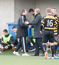 Alloa Athletic's manager Barry Smith and Falkirk's manager Gary Holt at the end.<br /> Alloa Athletic 3 v 0 Falkirk, Scottish Championship game played today at Alloa Athletic's home ground, Recreation Park.<br /> © Michael Schofield.