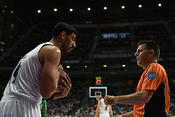 May 31, 2017 - Madrid, Madrid, Spain - Gustavo Ayón, #14 of Real Madrid talks to the referee during the first game of the semifinals of basketball Endesa league between Real Madrid and Unicaja de Málaga. (Credit Image: © Jorge Sanz/Pacific Press via ZUMA Wire)