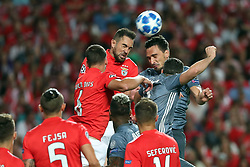 September 19, 2018 - Lisbon, Portugal - Benfica's Brazilian defender Jardel heads the ball with Bayern Munich's defender Mats Hummels from Germany during the UEFA Champions League Group E football match SL Benfica vs Bayern Munich at the Luz stadium in Lisbon, Portugal on September 19, 2018. (Credit Image: © Pedro Fiuza/NurPhoto/ZUMA Press)