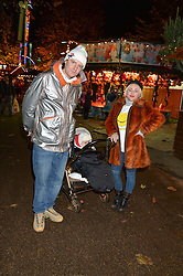 JAIME WINSTONE and JAMES SUCKLING and their son RAYMOND at the Hyde Park Winter Wonderland - VIP Preview Night, Hyde Park, London on 17th November 2016.