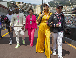Kriss Jenner, Corey Gamble, Tommy Hilfiger, Dee Ocleppo stroll along the pit lane at the 77th Monaco Grand Prix, Monaco on May 26th, 2019. Photo by Marco Piovanotto/ABACAPRESS.COM