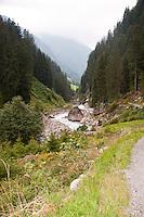 Golzern, Switzerland - landscape of the Maderanertal as seen from the path.