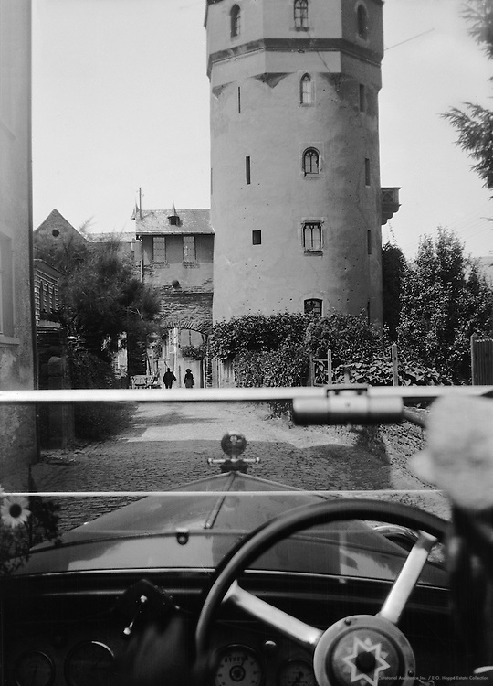 View of Haagerturm, or Red Tower, from Car, Oberwesel, Rhine Valley, 1928
