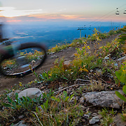 Jake Hawkes rides the lift accessed Grand Traverse Trail on Grand Targhee off of Fred's Mountain.
