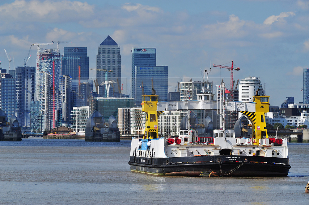 © Licensed to London News Pictures. 25/09/2018<br /> WOOLWICH, UK.<br /> James Newman Woolwich Ferry moored in Woolwich on The Thames.<br /> Woolwich ferry service to close in two weeks.<br /> The Woolwich ferry service in Woolwich will stop operating from Saturday 6th October until the end of the year to allow new berths to be constructed. The new berths will be for new boats which will restart the ferry service from January 2019.<br /> Photo credit: Grant Falvey/LNP