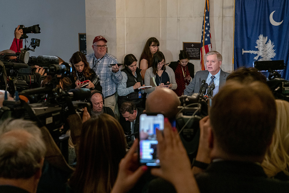 U.S. Sen. Lindsey Graham (R-SC) speaks to the press on the impeachment votes at the Russell Building on Capital Hill Dec. 18, 2019, Washington DC. This hearing is happening as the full House votes on two articles of impeachment against President Donald John Trump onThis will be the fourth time an American President has faced impeachment. The president is accused of obstruction of Congress and abuse of power.     Photo Credit: Ken Cedeno/Sipa USA