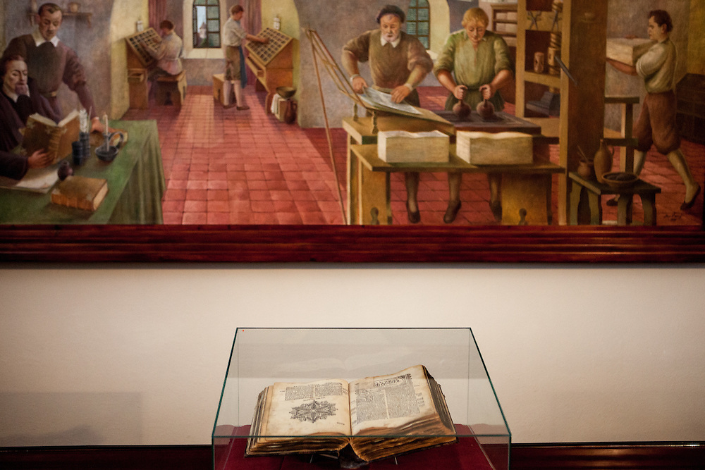 "Copy of ""The Bible of Kralice"", also called Kralice Bible exhibited at the Bible museum in the village of Kralice nad Oslavou close to Brno. The bible of Kralice was the first complete translation of the Bible from the original languages into the Czech language. Translated by the Unity of the Brethren and printed in the town of Kralice nad Oslavou, the first edition had six volumes and was published between the years 1579 and 1593."