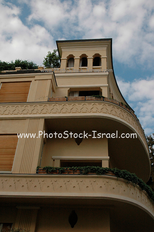 Old style buildings from the 1920 s in Rothschild Boulevard, Tel Aviv, Israel