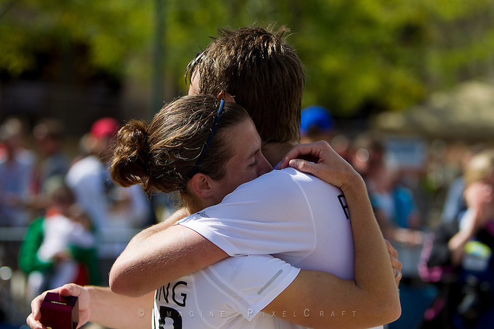 A young man proposed and she accepted at the finish line of the Quad Cities Marathon 2010