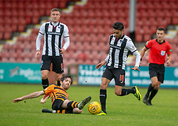 Alloa Athletic's Iain Flannigan and Dunfermline's Faissal El Bakhtaoui. Dunfermline 2 v 2 Alloa Athletic. Alloa win on penalties. Irn Bru cup game played 13/10/2018 at Dunfermline's home ground, East End Park.