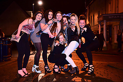 © London News Pictures. 01/01/2017. Aberystwyth, UK. A  group of young women out celebrating the 2017 New Year in Aberystwyth, Wales, UK on January 01, 2017 in the early hours of the morning. Photo credit: Keith Morris/LNP