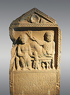 Second century Roman Christian funerary stele for 3 dead people from Africa Proconsularis. The stele depicts the deceased:  Fausata who died age 75, a man who died age 70 and a child who died age 2 years 6 months. From the first half of the second century AD from the region of Bou Arada in present day Tunisia. The Bardo National Museum, Tunis, Tunisia.   Against a grey background. .<br /> <br /> If you prefer to buy from our ALAMY STOCK LIBRARY page at https://www.alamy.com/portfolio/paul-williams-funkystock/greco-roman-sculptures.html . Type -    BARDO    - into LOWER SEARCH WITHIN GALLERY box - Refine search by adding a subject, place, background colour, museum etc.<br /> <br /> Visit our CLASSICAL WORLD HISTORIC SITES PHOTO COLLECTIONS for more photos to download or buy as wall art prints https://funkystock.photoshelter.com/gallery-collection/The-Romans-Art-Artefacts-Antiquities-Historic-Sites-Pictures-Images/C0000r2uLJJo9_s0c