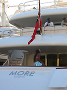 """**EXCLUSIVE**.Sean P. Diddy Combs with Naomi Campbell on his Yacht """"MORE"""" at Gustavia Port.St. Barth, Caribbean.Monday, December, 29, 2003.Photo By Celebrityvibe.com/Photovibe.com..."""
