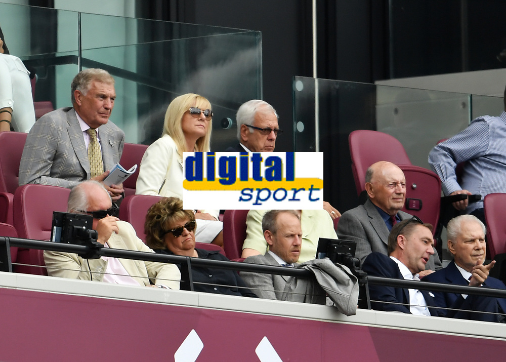 Football - 2019 Betway Cup (pre-season friendly) - West Ham vs. Athletic Bilbao<br /> <br /> West Ham United great Trevor Brooking (left) and co chairman David Gold (right), at The London Stadium.<br /> <br /> COLORSPORT/ASHLEY WESTERN