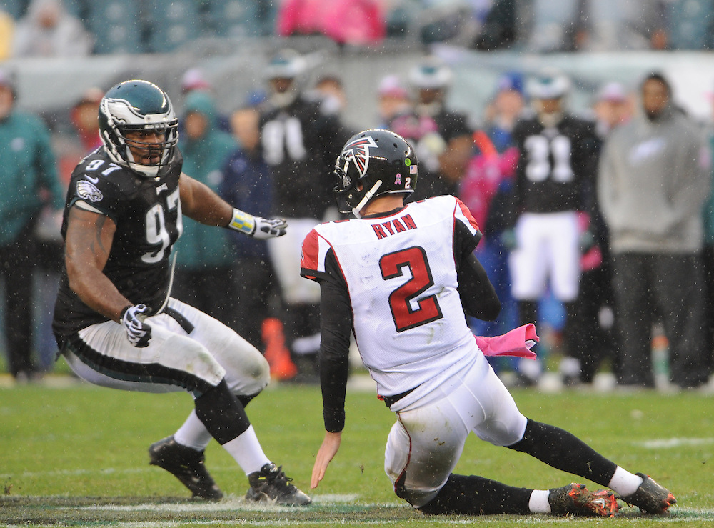 PHILADELPHIA, PA - October, 28:  Philadelphia Eagles defensive tackle Cullen Jenkins (97) sacks Atlanta Falcons quarterback Matt Ryan (2) during the game at Lincoln Financial Field in Philadelphia, Pennsylvania. (Photo by John Geliebter)