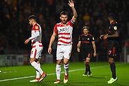 Andrew Butler of Doncaster Rovers (6) appeals for a throw in during the EFL Sky Bet League 1 match between Doncaster Rovers and Sunderland at the Keepmoat Stadium, Doncaster, England on 23 October 2018.