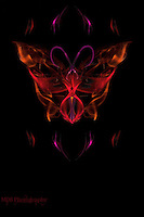 """My artistic vision of a """"Vulcan Butterfly"""" created from a composite of several shots of smoke colorized and carefully layered and positioned to create the final image."""