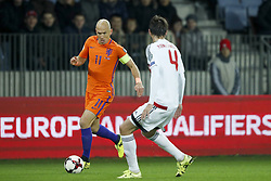 (L-R) Arjen Robben of Holland, Aleksei Yanushkevich of Belarus during the FIFA World Cup 2018 qualifying match between Belarus and Netherlands on October 07, 2017 at Borisov Arena in Borisov,  Belarus
